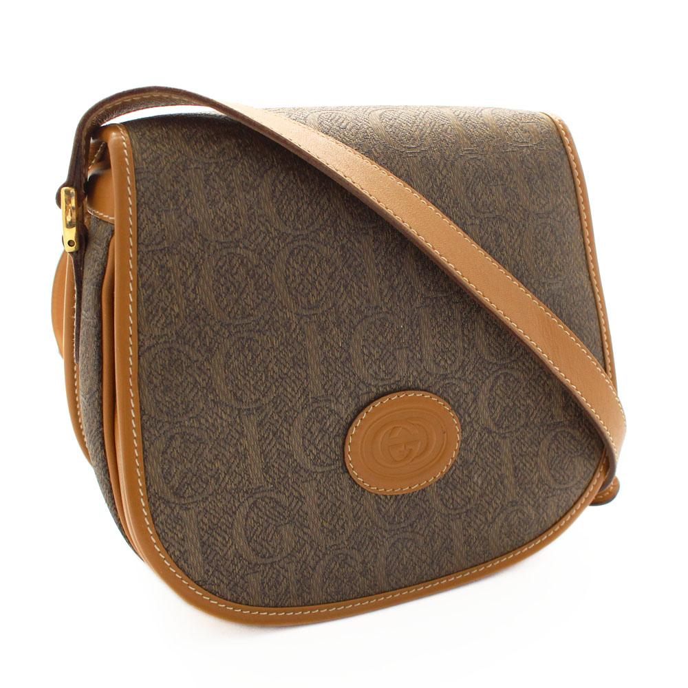 fe1486fa3ebf GUCCI Gucci old Gucci pochette logo shoulder bag Lady's brown PVC leather  007 261 0107