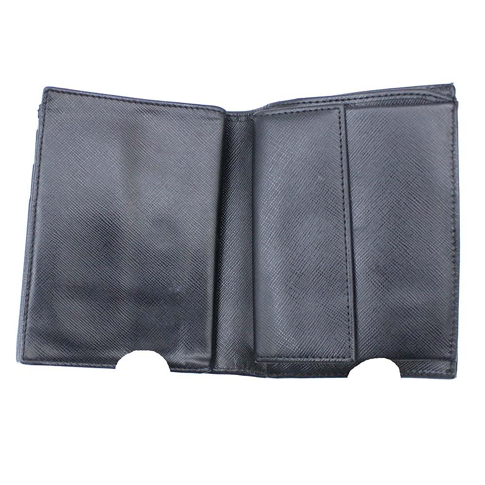 ed11e8e6a0f0 【中古】PRADA プラダ 三角プレート 二つ折り財布 ユニセックス ブラック ナイロン M668