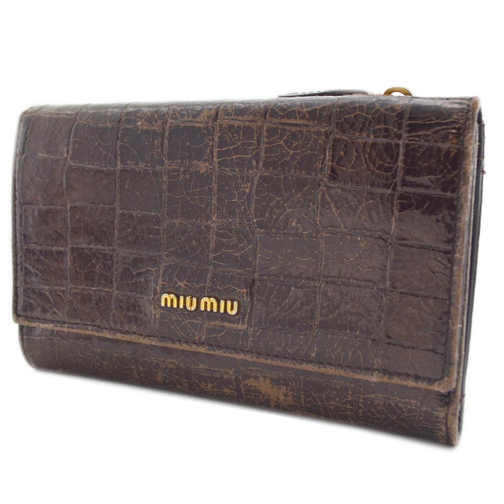 【中古】MIUMIU ミュウミュウ 二つ折り財布 レディース ブラウン レザー