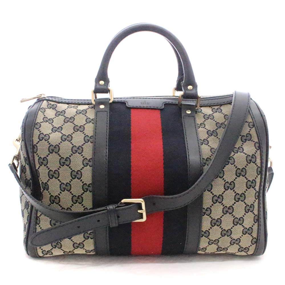 247086d4d ... GUCCI Gucci 2way mini-Boston sherry Boston bag Lady's navy red GG canvas  leather 247205 ...