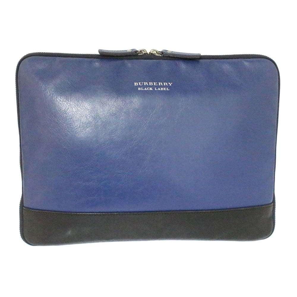 3778dc9afe54 Gold Eco  BURBERRY BLACK LABEL Burberry black label document case clutch  bag unisex navy black leather