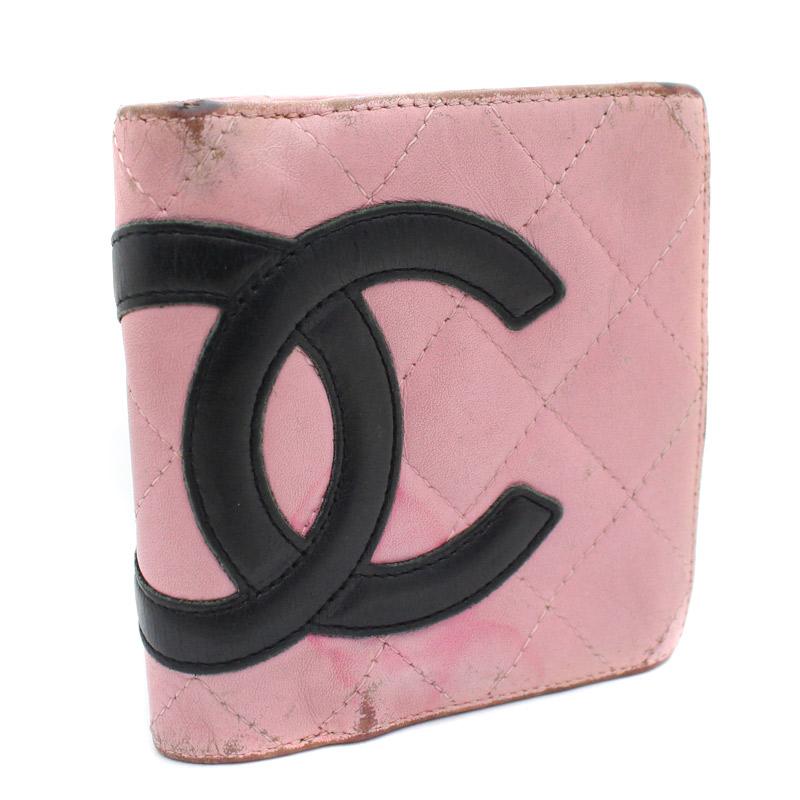 【中古】CHANEL シャネル ココマーク 二つ折り財布 レディース ピンク レザー