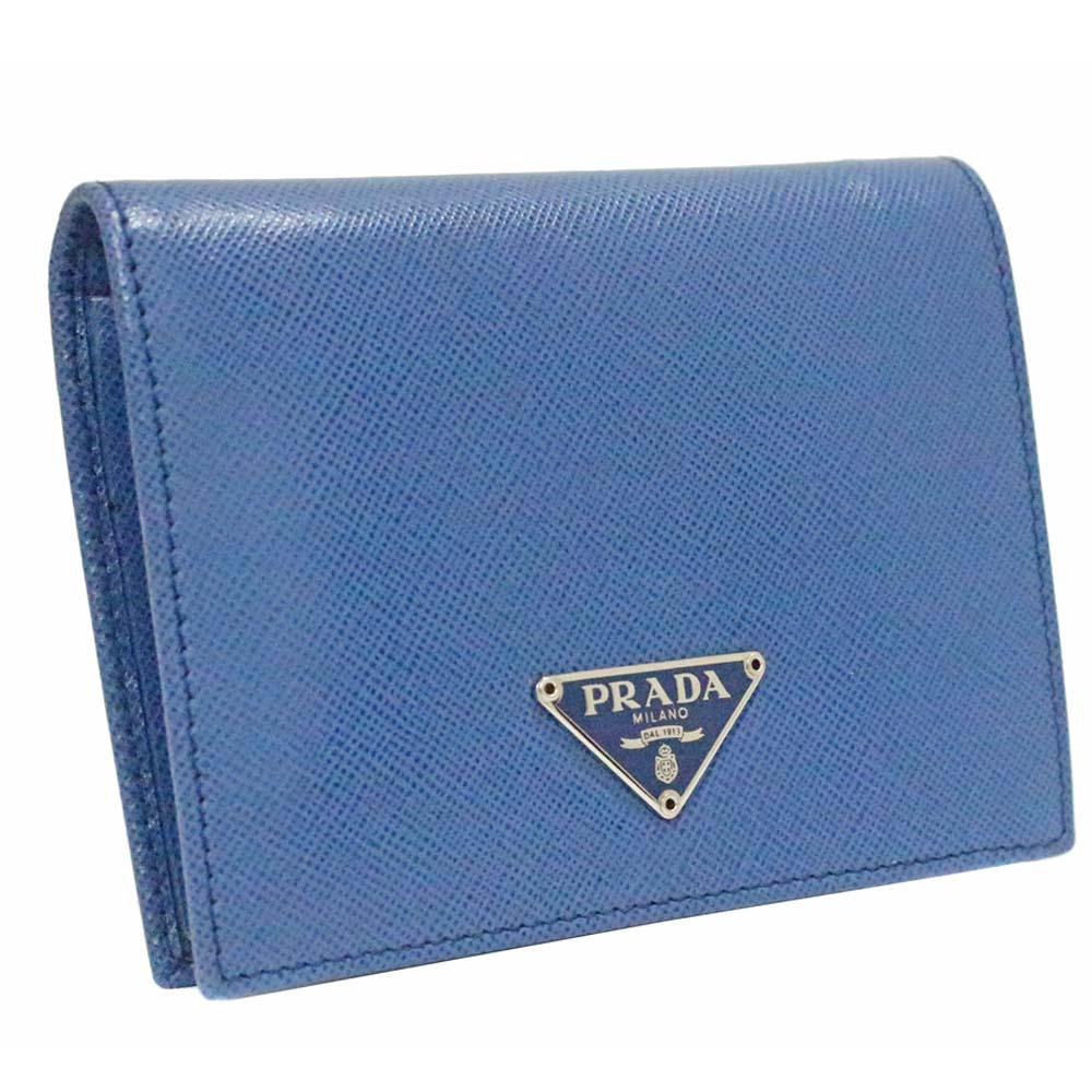 【中古】PRADA プラダ ロゴプレート 二つ折り財布 ユニセックス ブルー レザー M204A
