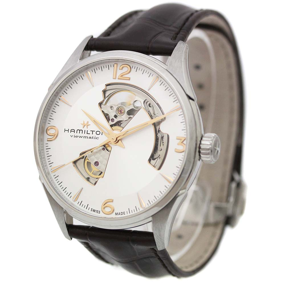 【中古】HAMILTON ハミルトン ジャズマスター オープンハート 腕時計 メンズ 自動巻き シルバー文字盤 シルバー ダークブラウン H32705551