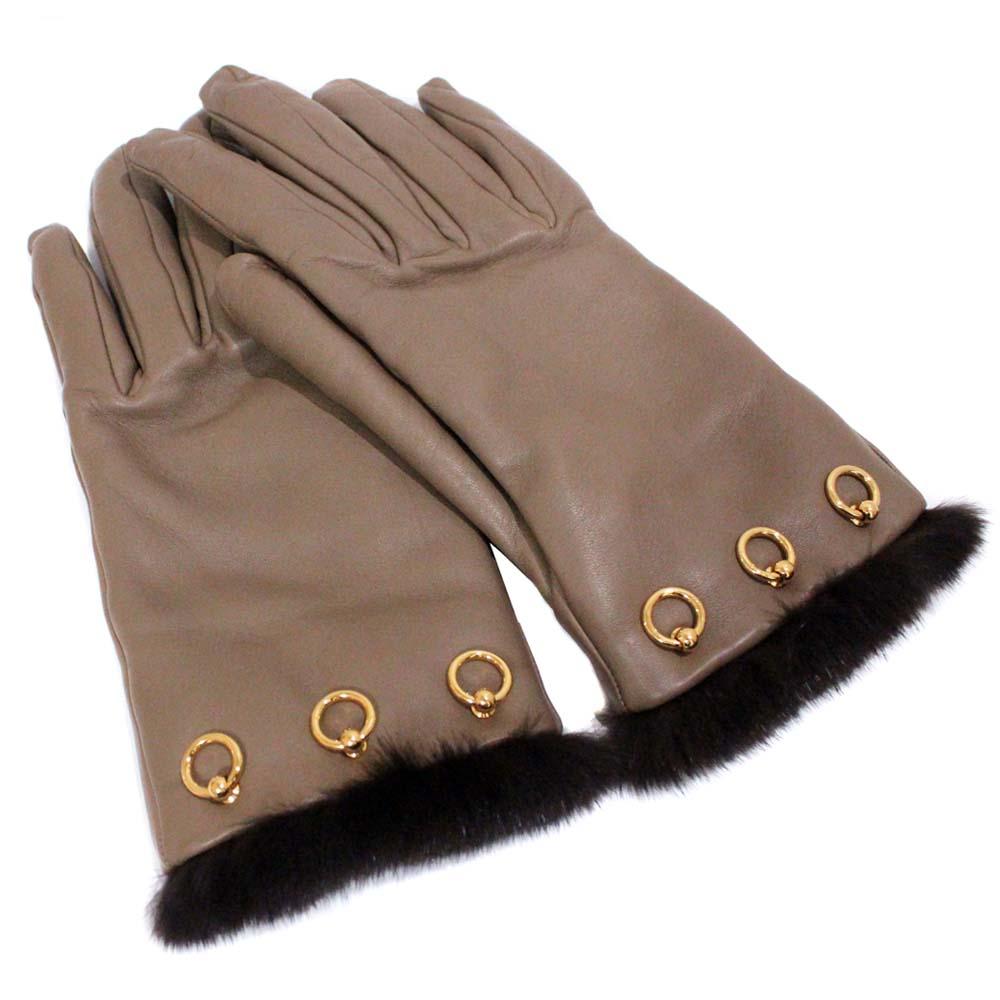 【中古】HERMES エルメス リング金具 グローブ #7 手袋 レディース ブラウン ラムスキン ミンク