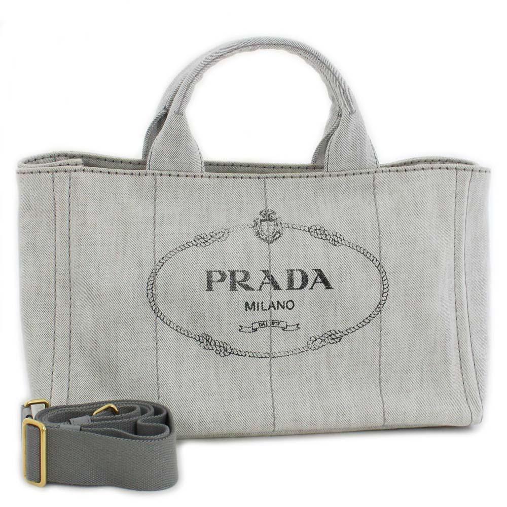b073a201257f PRADA plastic Dacca Napa 2WAY tote bag Lady's BIANCO light gray gold metal  fittings denim B2642B