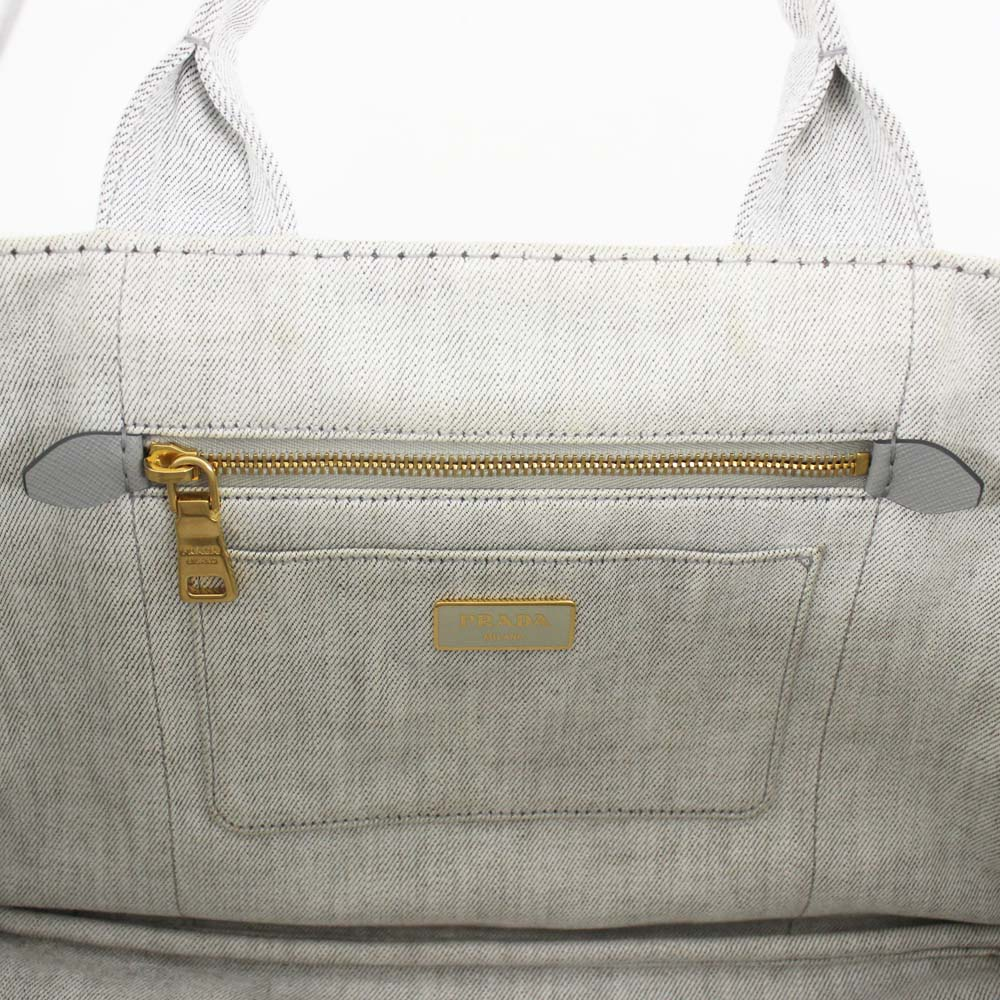 de032bb7b2fd ... PRADA plastic Dacca Napa 2WAY tote bag Lady's BIANCO light gray gold  metal fittings denim B2642B ...