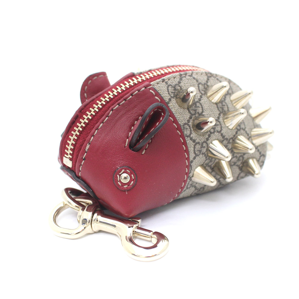5592fc807383 GUCCI Gucci hedgehog micro GG animal key ring coin case Lady's beige red  leather 295838