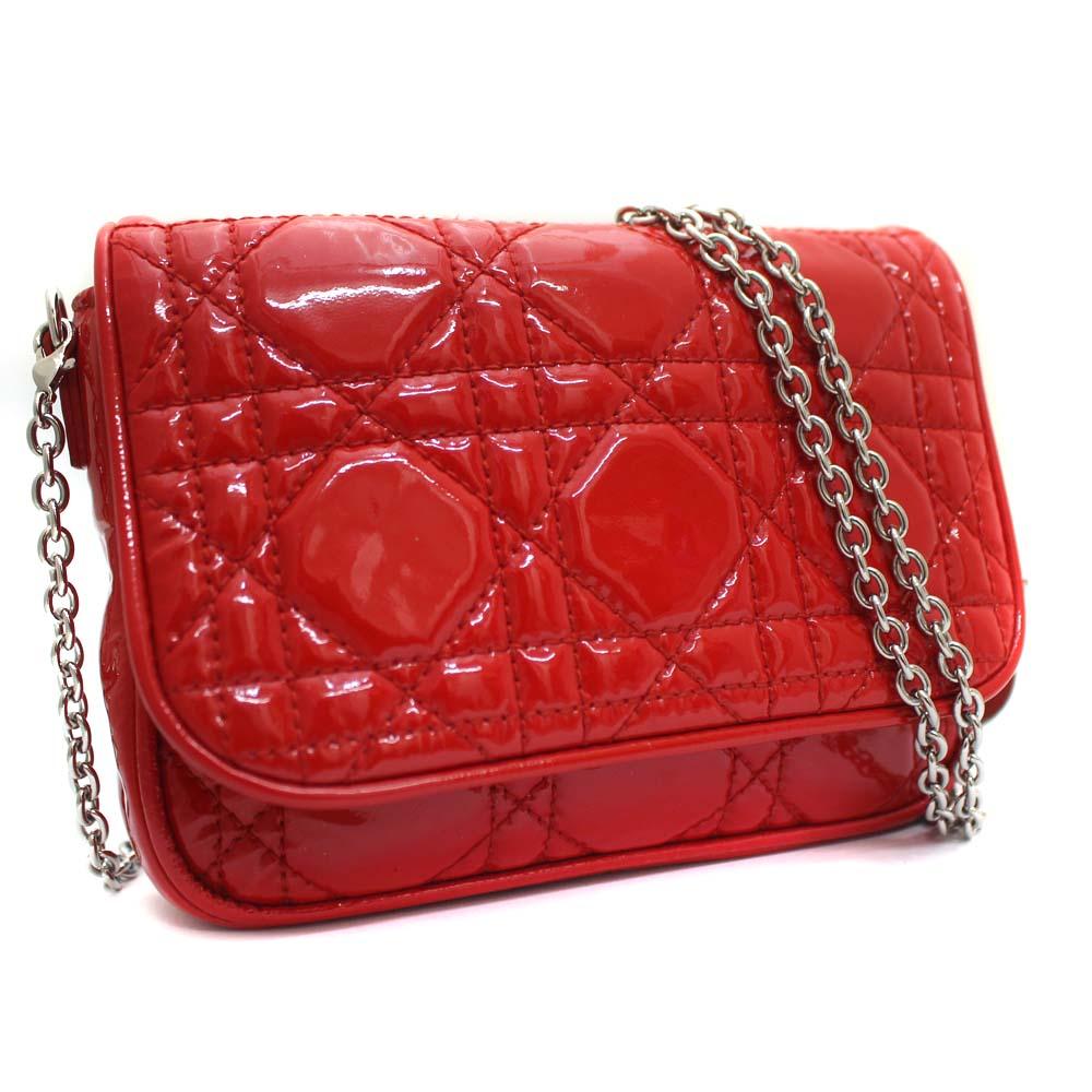 グランドセール Dior ディオール カナージュ クラッチバッグ レディディオール ショルダーバッグ レディース レッド パテントレザー, Sweet Sue 8f6f99b1