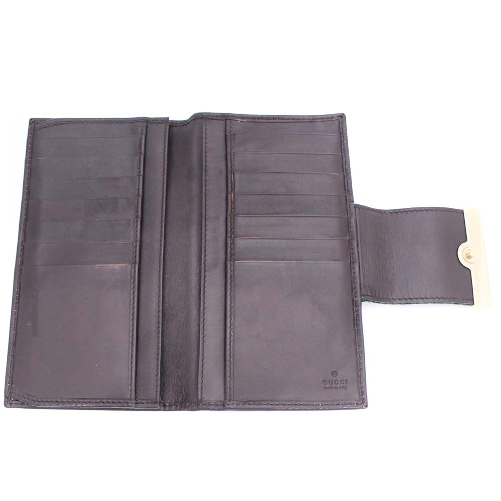 1dde24398f1e Gold Eco: GUCCI Gucci sherry line folio long wallet unisex brown ...