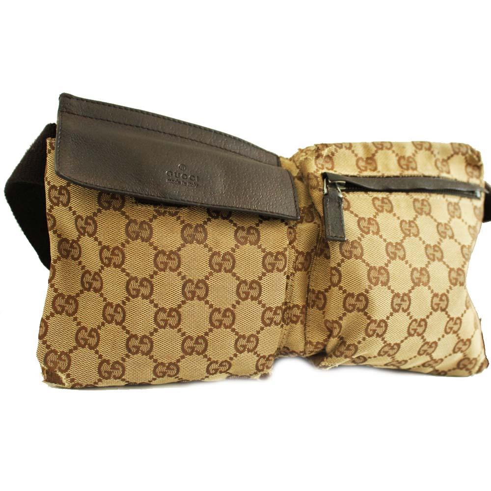 81d5e39e79a GUCCI Gucci body bag waist porch GG pattern bum-bag unisex brown GG canvas  leather 28566