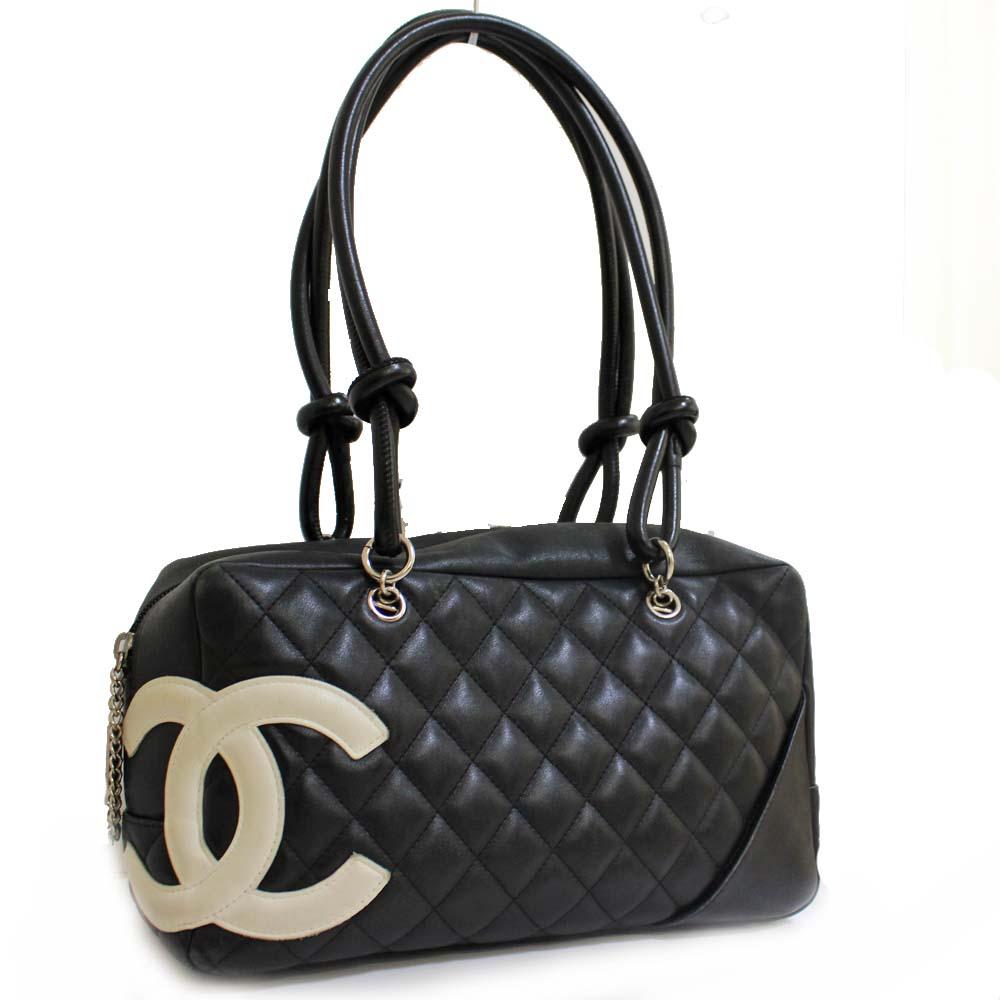 Chanel Bowling Bag Mini Boston Cambon Line Shoulder Lady S Black White Leather A25171