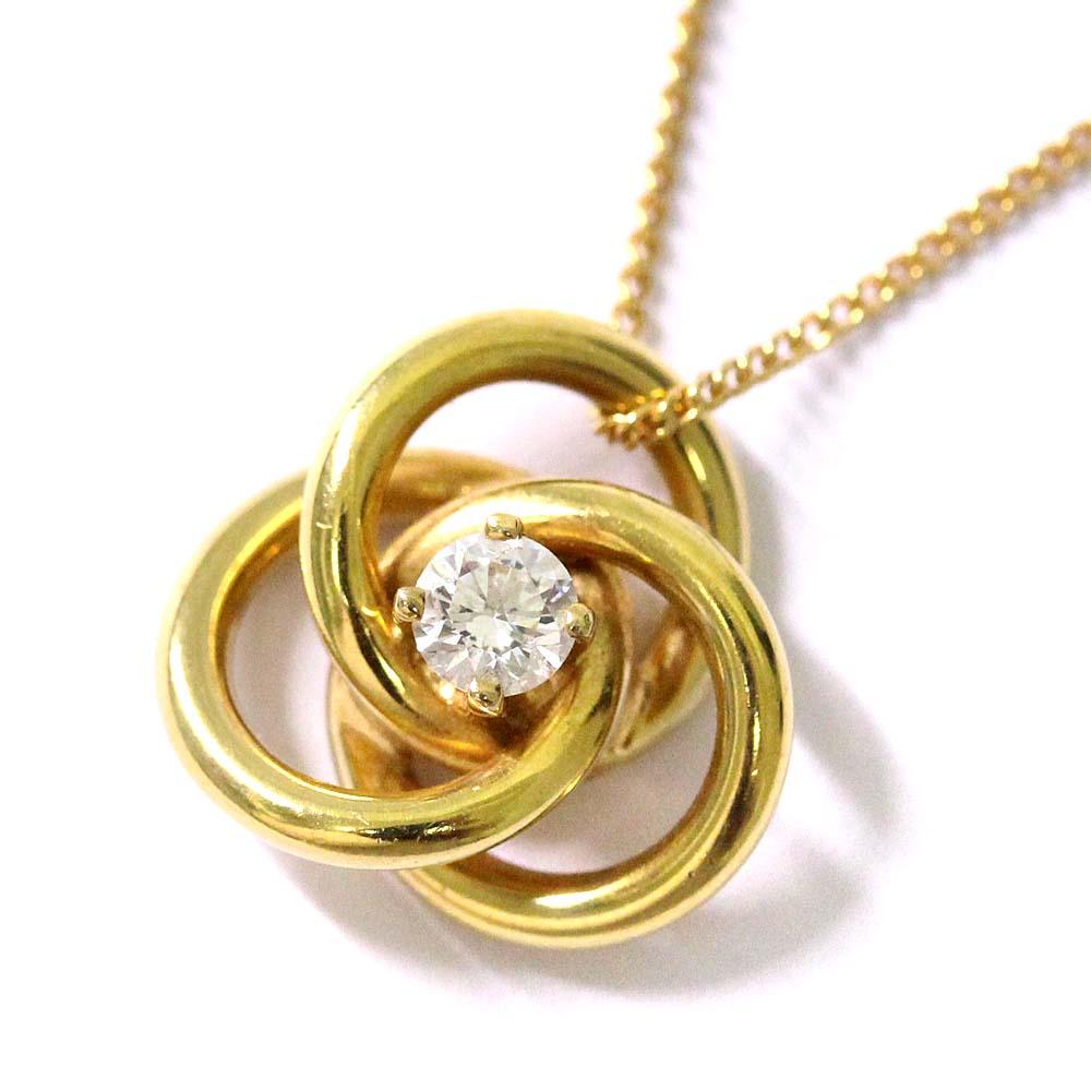 【中古】TIFFANY&Co. ティファニー 三連 フープ ネックレス レディース YG K18イエローゴールド ダイヤモンド ジュエリー