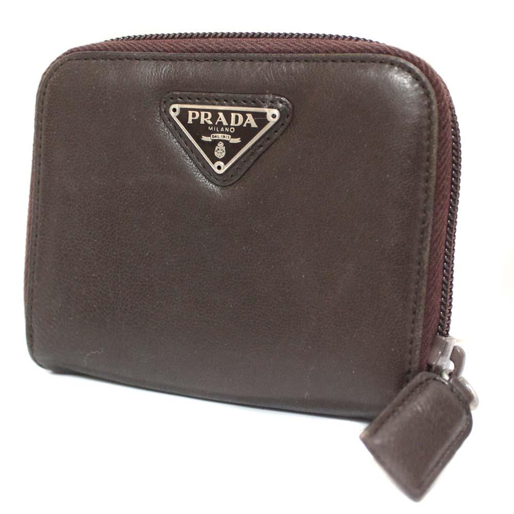 429646f581 PRADA Prada compact zip folio wallet unisex brown leather