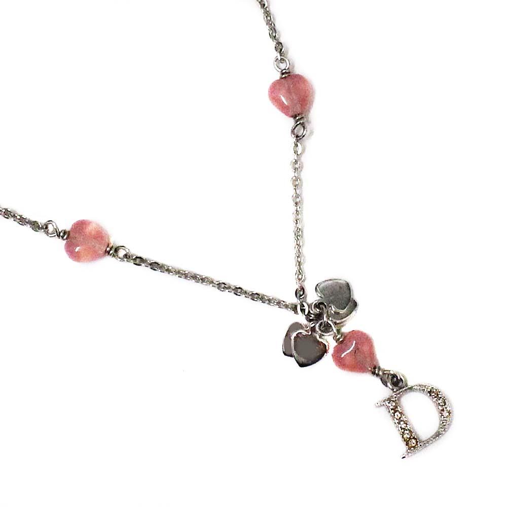 【中古】Christian Dior クリスチャンディオール ラインストーン ロゴ ペンダント ネックレス レディース シルバー/ピンク メタル アクセサリー