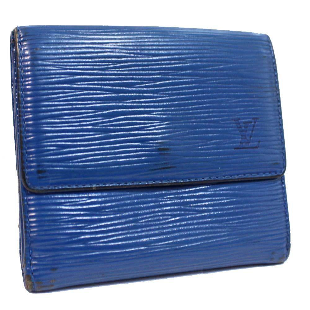 【中古】LOUIS VUITTON ルイ ヴィトン ポルトモネ ビエカルトクレディ Wホック財布 エピ 二つ折り財布 ユニセックス トレドブルー エピレザー M63485