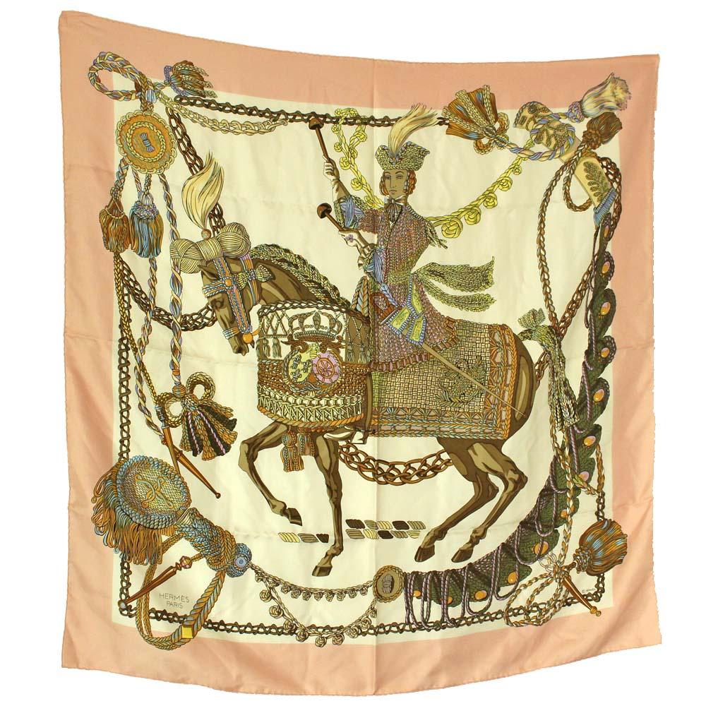 【中古】HERMES エルメス 大判 馬柄 カレ90 スカーフ レディース ピンク ホワイト シルク