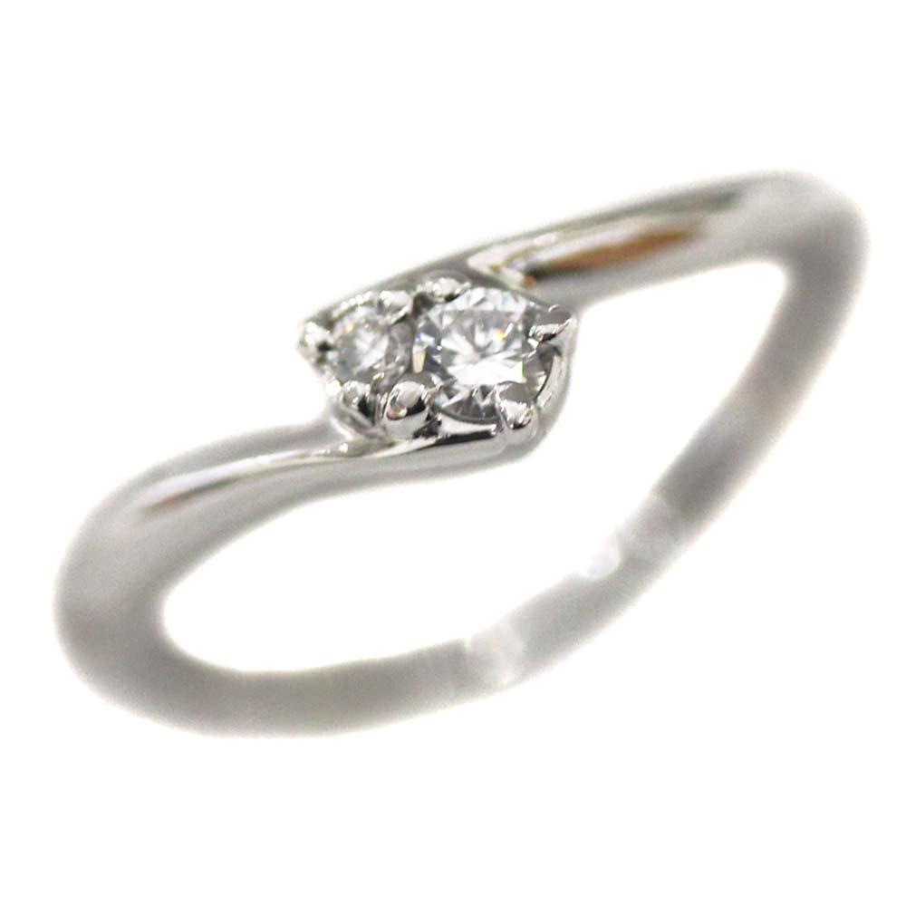 【中古】4℃ ヨンドシー 2P ダイヤ リング・指輪 レディース 6号 プラチナ Pt950プラチナ ダイヤモンド【新品仕上げ済み】