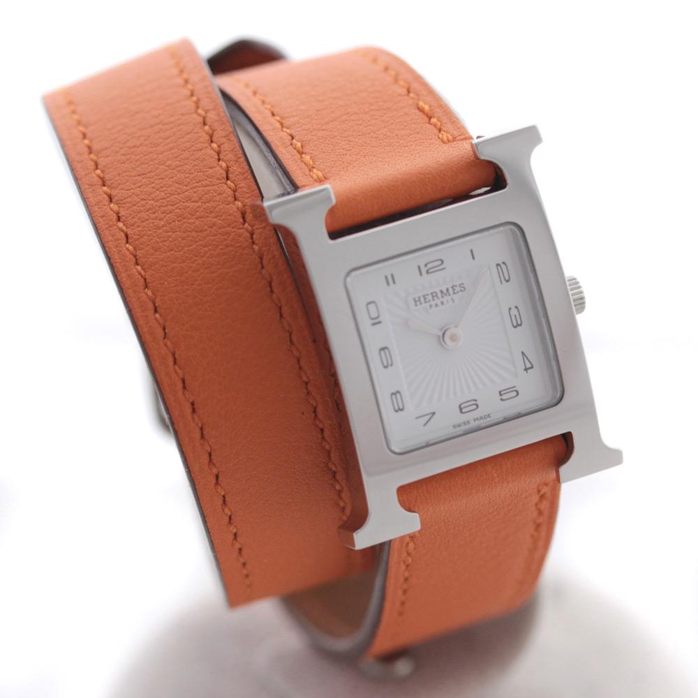 【中古】HERMES エルメス Hウォッチ ドゥブルトゥール 腕時計 レディース クオーツ ホワイト文字盤 シルバー オレンジ HH1.210.131