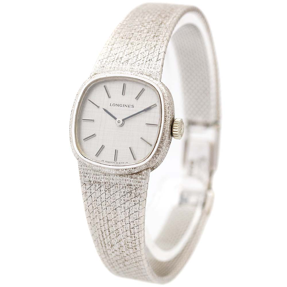 【中古】LONGINES ロンジン 無垢 アンティーク 腕時計 レディース 手巻き シルバー文字盤 ホワイトゴールド