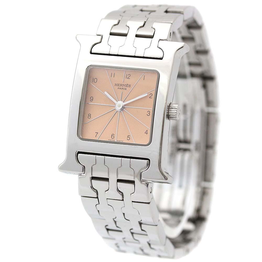 【中古】HERMES エルメス Hウォッチ 腕時計 レディース クオーツ ピンク文字盤 シルバー HH1.210