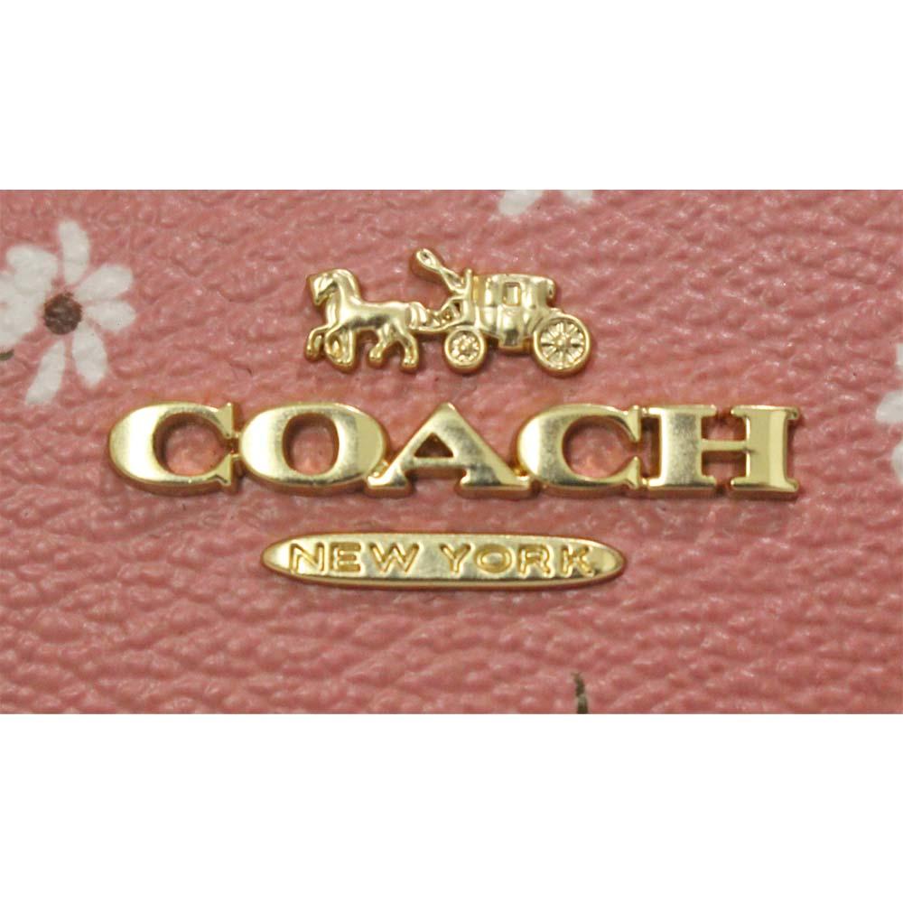 美品 COACH コーチ 花柄 リストレット ポーチレディース ピンク レザー F27472dWexoCBr