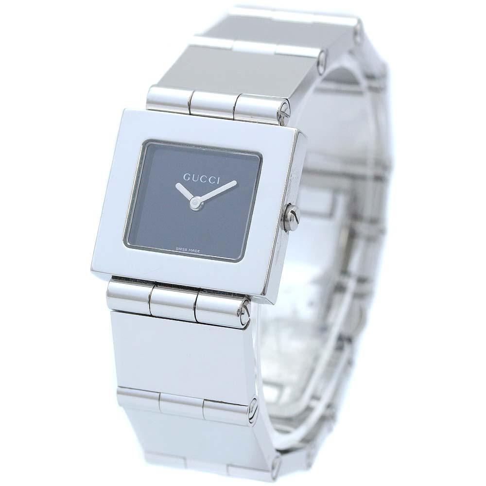 【中古】GUCCI グッチ 腕時計 レディース クオーツ ブラック文字盤 シルバー 600J