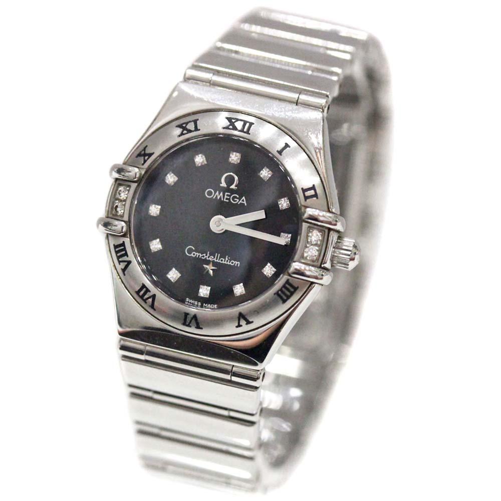 【中古】OMEGA オメガ コンステレーション 12ポイントダイヤ 腕時計 レディース クオーツ ブラック文字盤 シルバー
