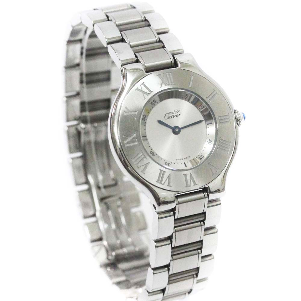 【中古】CARTIER カルティエ マスト21 ヴァンティアンLM 腕時計 ボーイズ クオーツ シルバー文字盤 シルバー W10110T2
