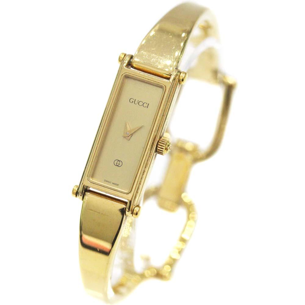【中古】GUCCI グッチ バングルウォッチ 腕時計 レディース クオーツ ゴールド文字盤 ゴールド 1500L