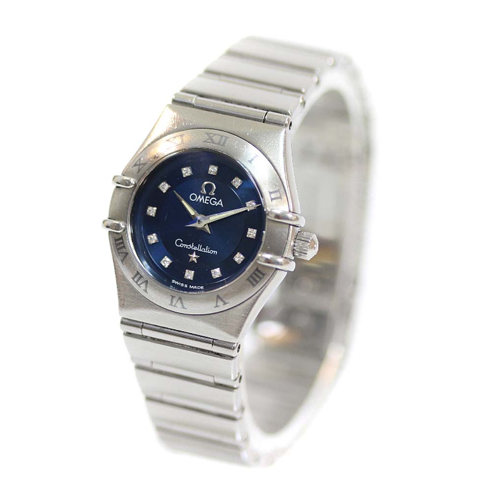 【中古】OMEGA オメガ コンステレーション 12P 腕時計 レディース クオーツ ネイビー文字盤 シルバー シルバー