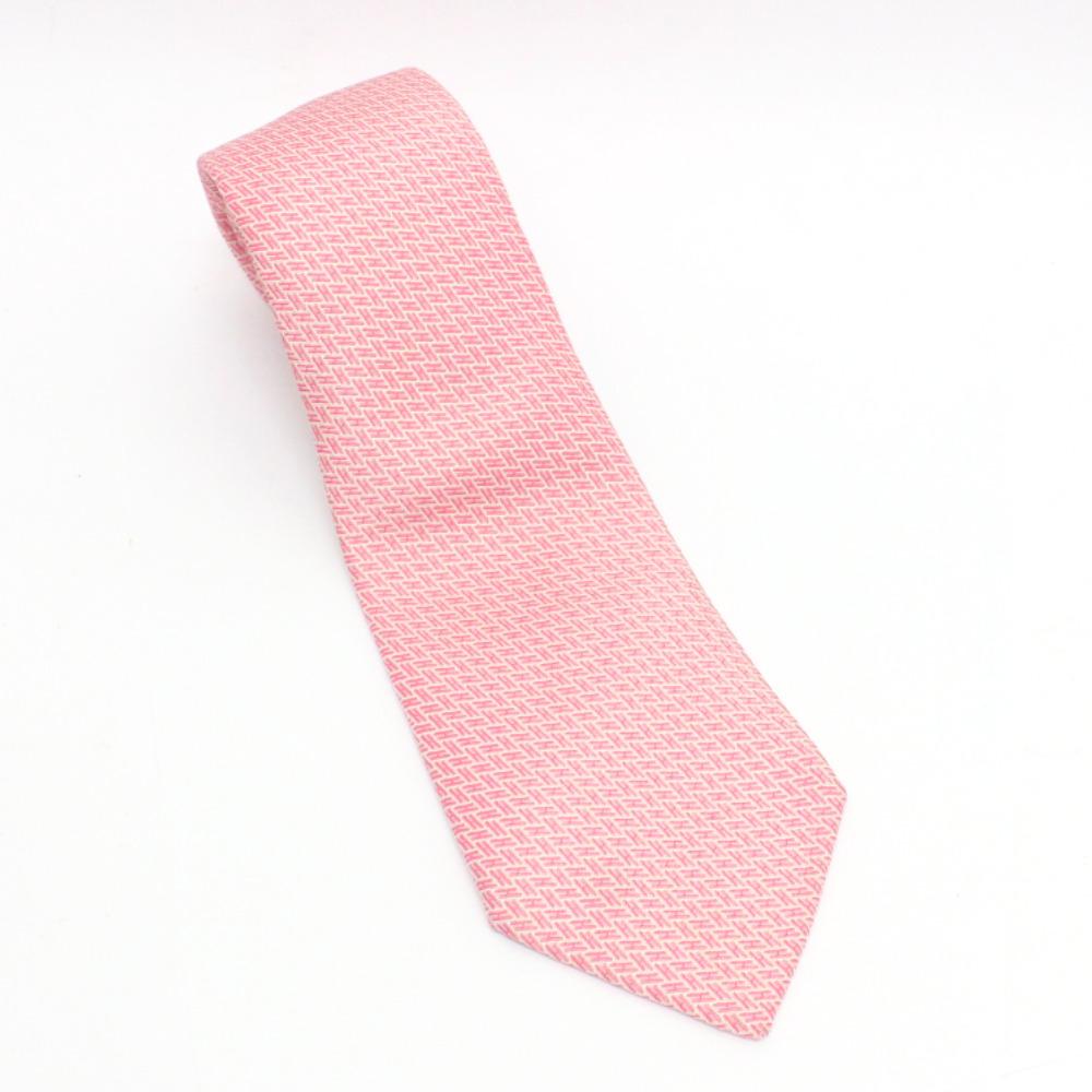 【中古】HERMES エルメス H ロゴ ネクタイ メンズ ピンク シルク
