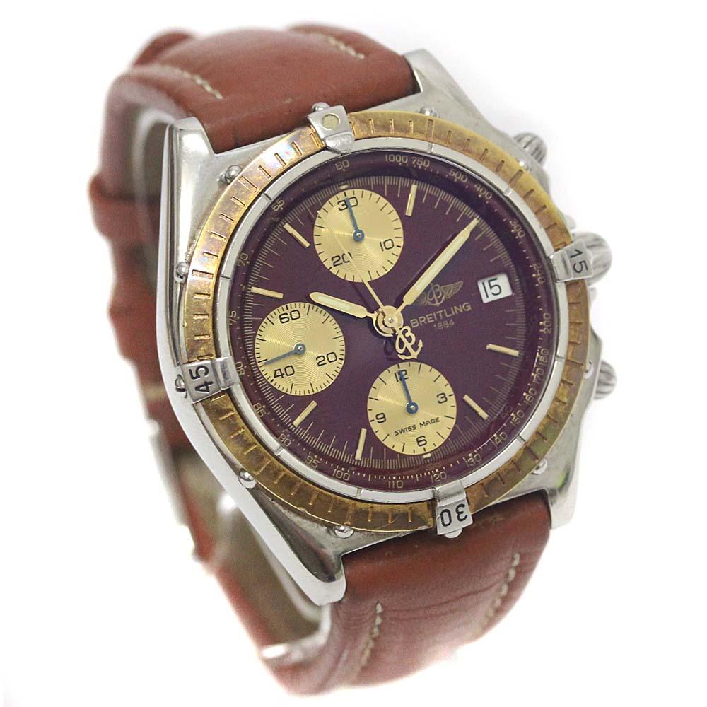 【中古】BREITLING ブライトリング クロノマット ビコロ 腕時計 メンズ 自動巻き ワインレッド文字盤 SS/YG D13048