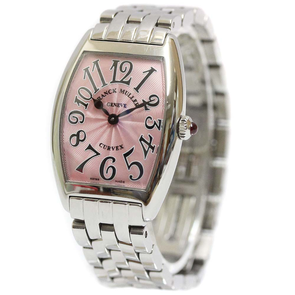 【中古】FRANCK MULLER フランクミュラー トノーカーべックス 腕時計 レディース クオーツ ピンク文字盤 シルバー 1752QZ