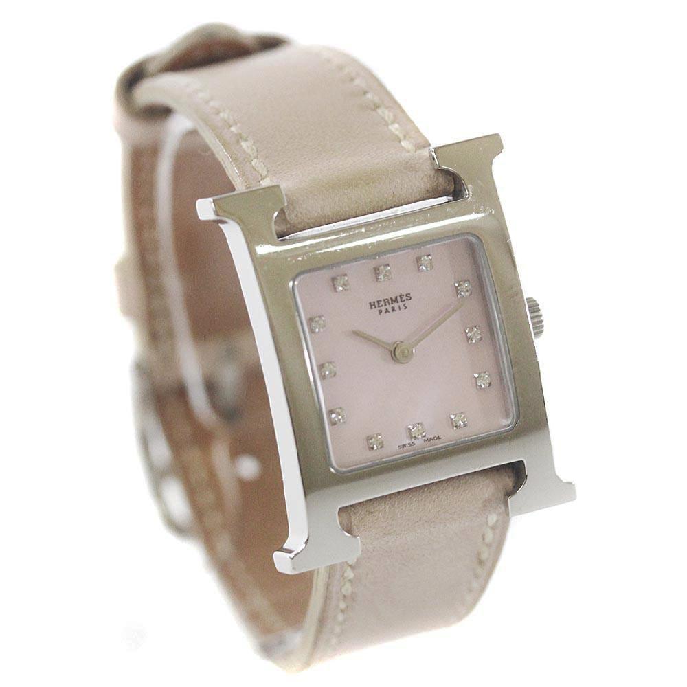 【中古】HERMES エルメス Hウォッチ 12Pダイヤ 腕時計 レディース クオーツ ピンクシェル文字盤 シルバー ベージュ HH1.210 □H刻印