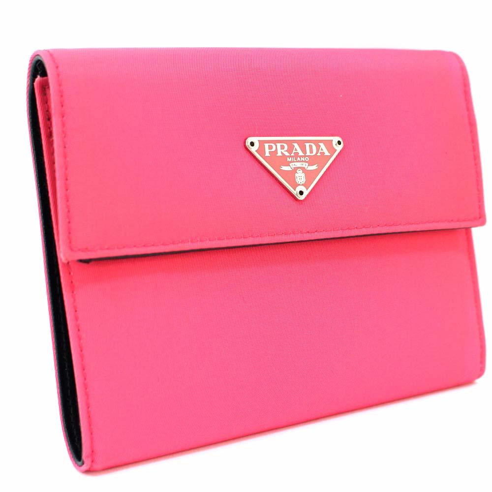 【中古】【美品】PRADA プラダ ロゴ 三つ折り財布 レディース ピンク ナイロン レザー M170
