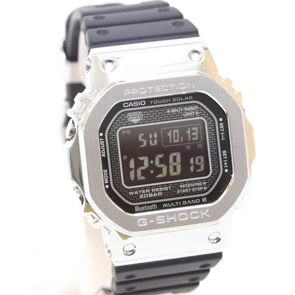 【中古】CASIO カシオ Gショック 電波ソーラー デジタル 腕時計 ボーイズ 電波時計 ブラック文字盤 シルバー ブラック GMW-B5000