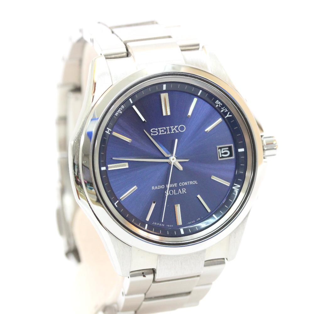 【中古】SEIKO セイコー ソーラー スピリット 腕時計 メンズ ソーラー電波時計 ネイビー文字盤 シルバー ネイビー 7B24-0BN0