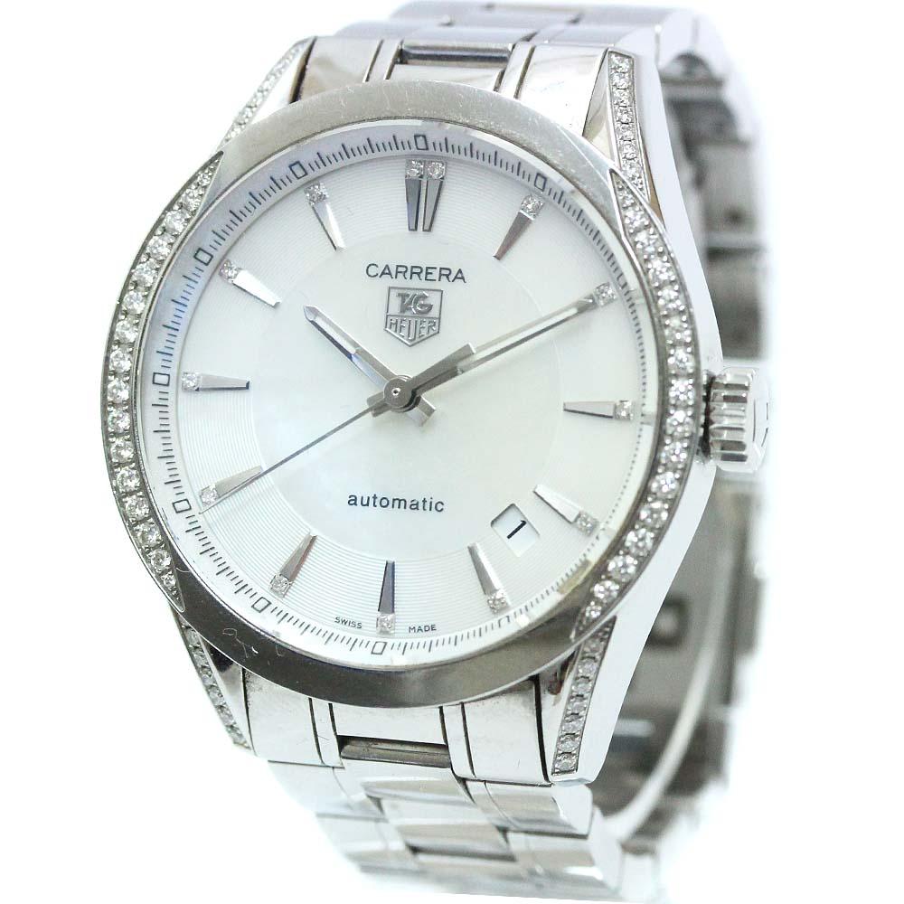 【中古】TAG HEUER タグホイヤー カレラ キャリバー5 腕時計 メンズ 自動巻き ホワイトシェル文字盤 シルバー WV2212.BA0798