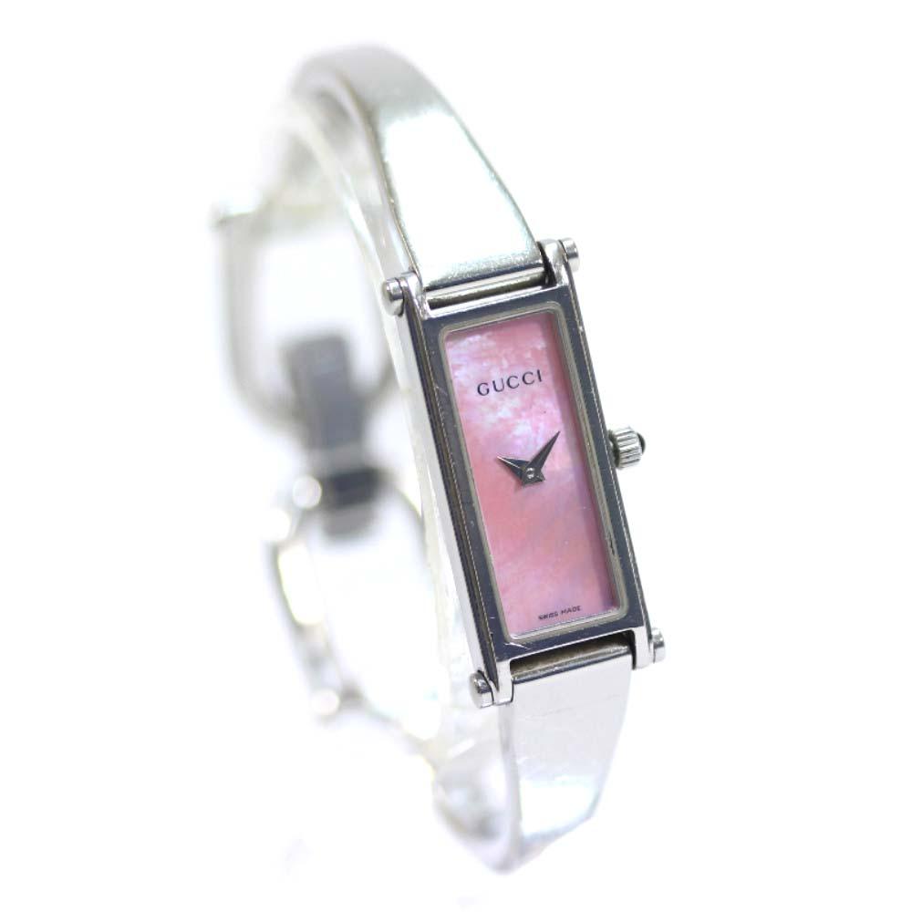 【中古】GUCCI グッチ シェル 腕時計 レディース クオーツ ピンク文字盤 シルバー ピンク 1500L
