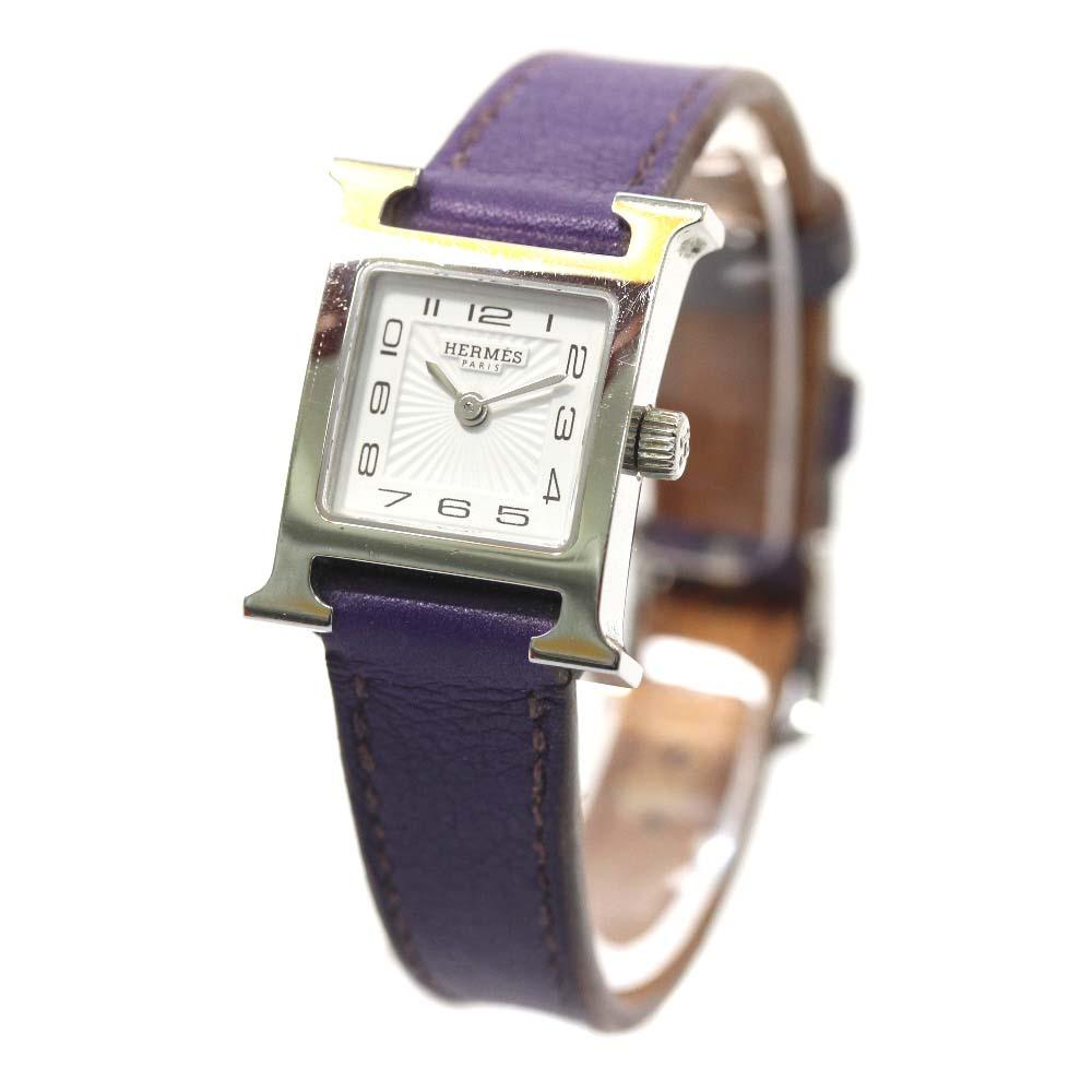 【中古】HERMES エルメス Hウォッチミニ クォーツ レザーベルト 腕時計 レディース クオーツ ホワイト文字盤 シルバー パープル □P刻印
