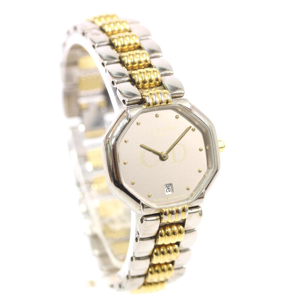 【中古】Christian Dior クリスチャンディオール 腕時計 レディース クオーツ シルバー文字盤 シルバー ゴールド 48 203