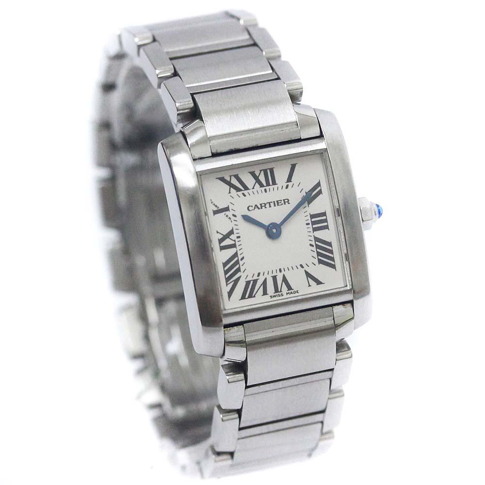 【中古】CARTIER カルティエ タンク フランセーズSM 腕時計 レディース クオーツ アイボリー文字盤 シルバー W51008Q3