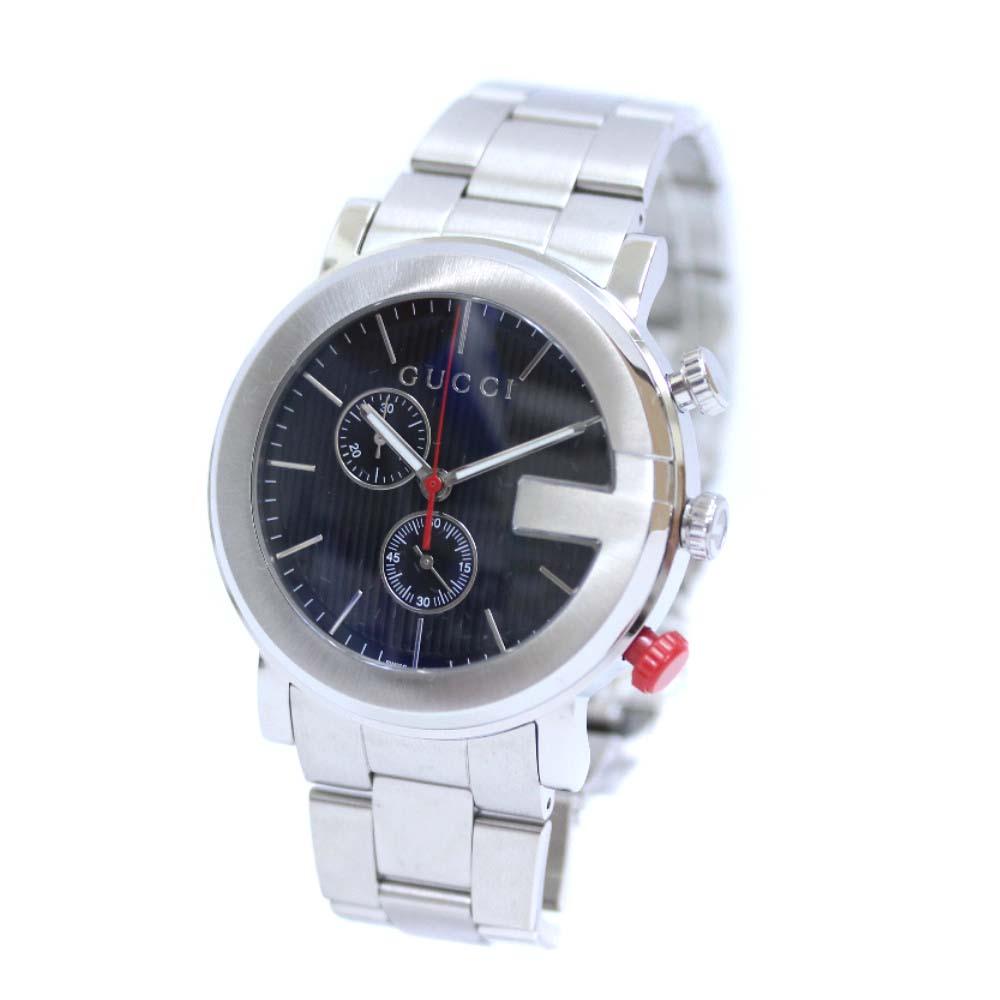 【中古】GUCCI グッチ Gクロノ 腕時計 メンズ クオーツ ブラック文字盤 シルバー 101MCHRONO / YA101361