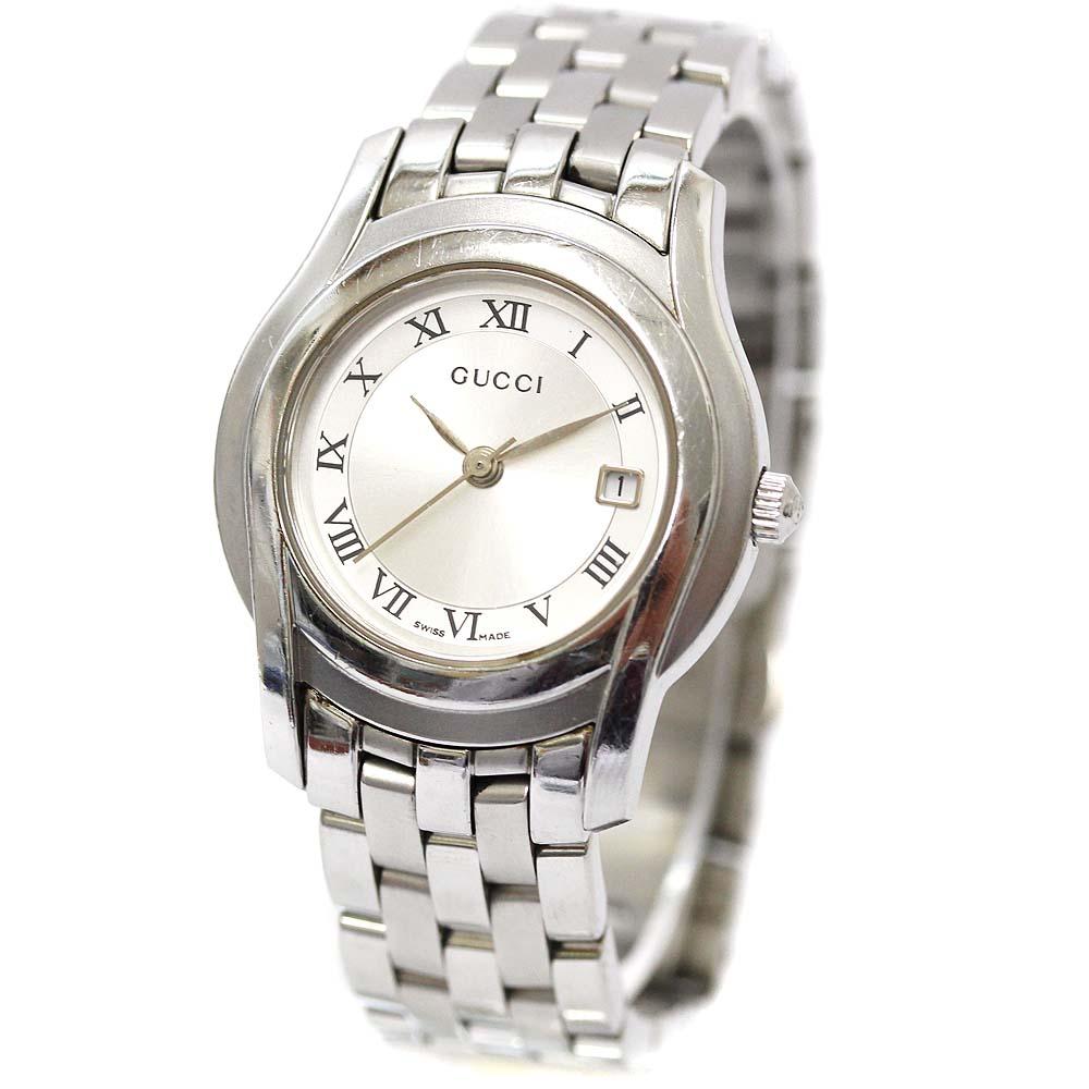 【中古】GUCCI グッチ 腕時計 レディース クオーツ シルバー文字盤 シルバー 5500L