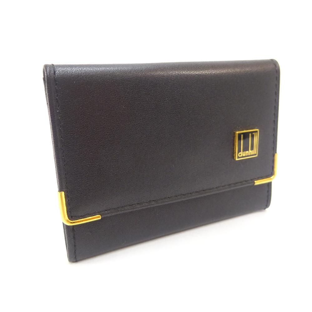 【中古】Dunhill ダンヒル ロゴ 名刺入れ カードケース メンズ ブラック レザー