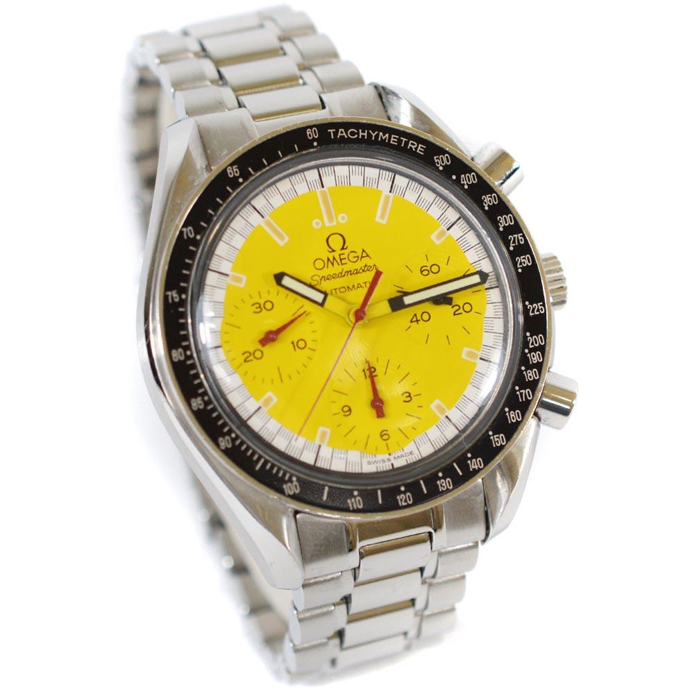 【中古】OMEGA オメガ スピードマスター ミハエルシューマッハ 腕時計 メンズ 自動巻き イエロー文字盤 シルバー 3510.12