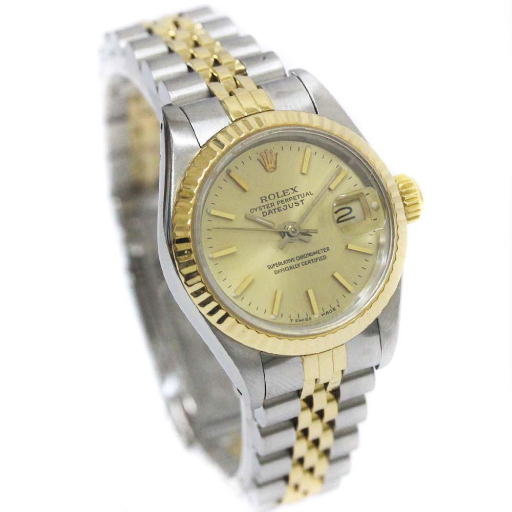 【中古】ROLEX ロレックス デイトジャスト 腕時計 レディース 自動巻き シャンパン文字盤 SS/YG 69173/E番【オーバーホール済み】【新品仕上げ済み】
