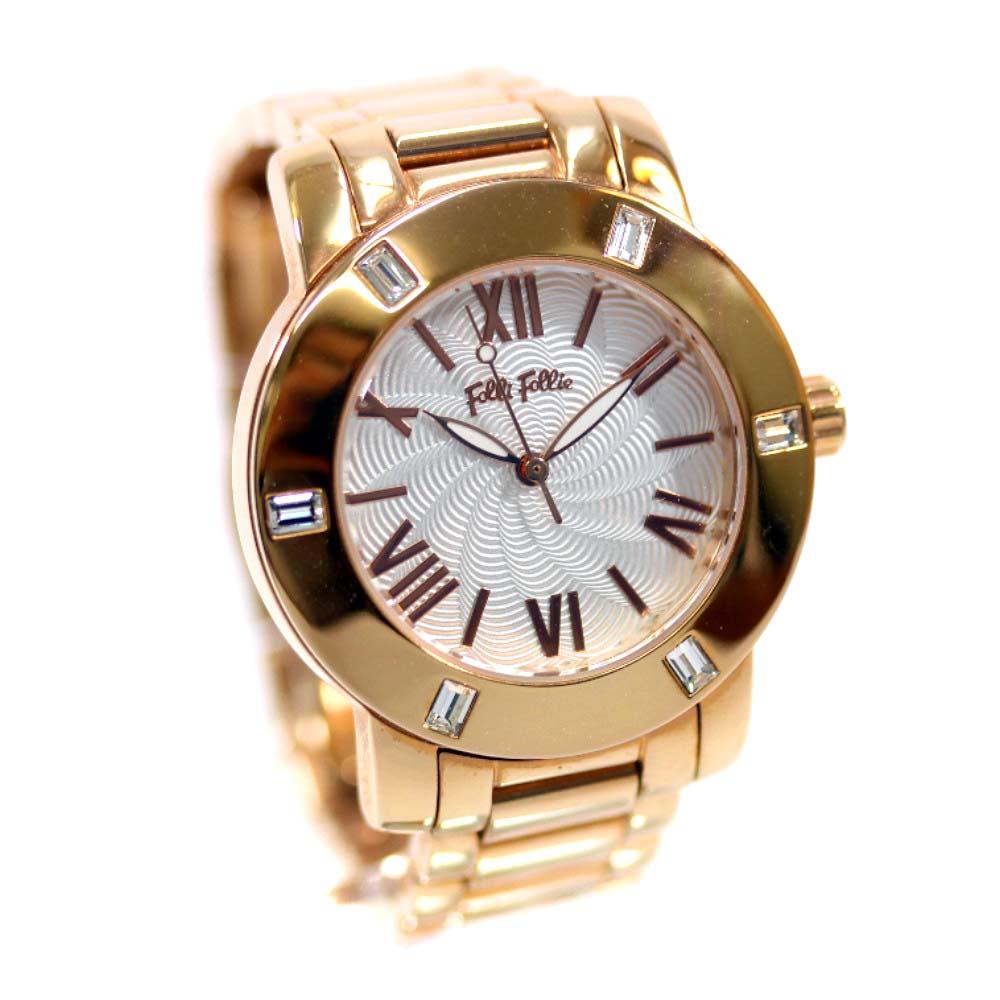 【中古】Folli Follie フォリフォリ ドナテラ 腕時計 レディース クオーツ ホワイト文字盤 ピンクゴールド WF1B005BP