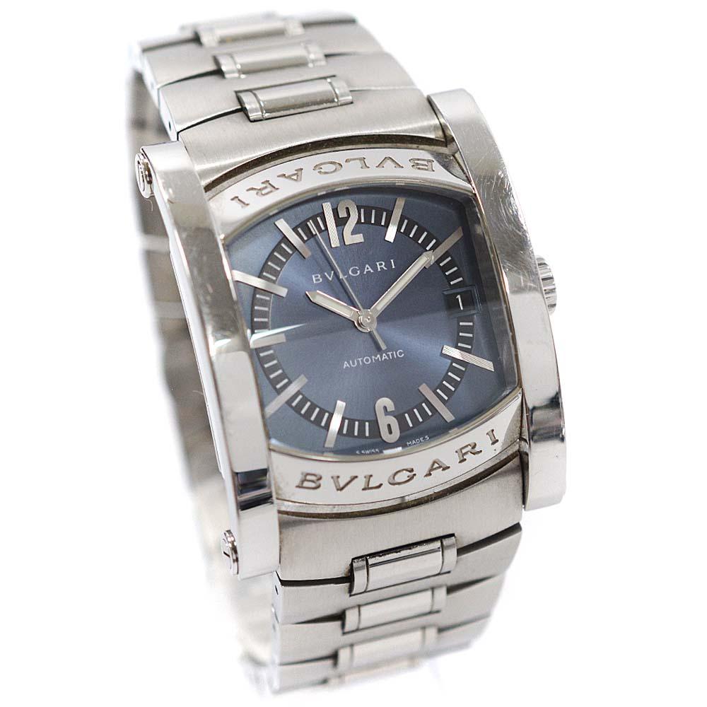【中古】BVLGARI ブルガリ アショーマ 腕時計 メンズ 自動巻き ブルー文字盤 シルバー AA44S